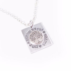 Square Tree of Life Personalized Hand Stamped Necklace - Jewelrylized.com