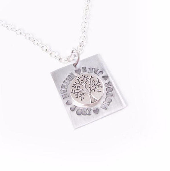 Square Tree of Life Personalized Hand Stamped Necklace - Jewelrylized