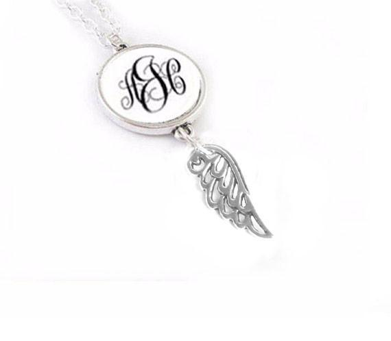 Monogram Angel Wing Necklace - Jewelrylized.com