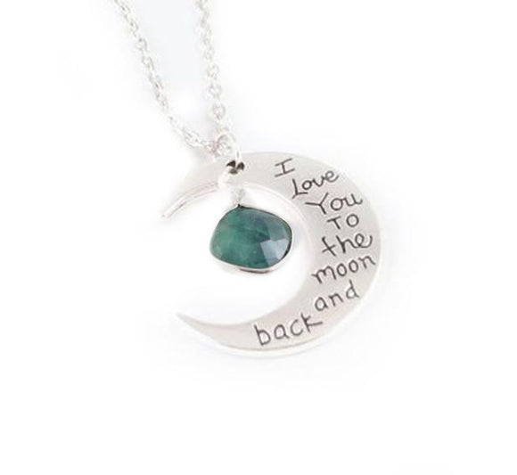 Love you to the Moon Emerald Necklace - Jewelrylized.com