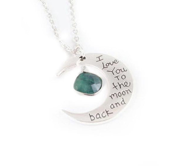 Love you to the Moon Emerald Necklace - Jewelrylized