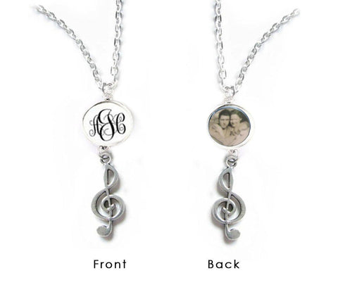 Music Note Monogram Photo Necklace, Double Side Personalized Necklace, Customize Music Gift - Jewelrylized
