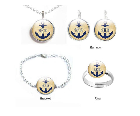 Nautical Anchor Monogram Earrings, Anchor Necklace, Monogram Bracelet, Customize Ring - Jewelrylized  - 1