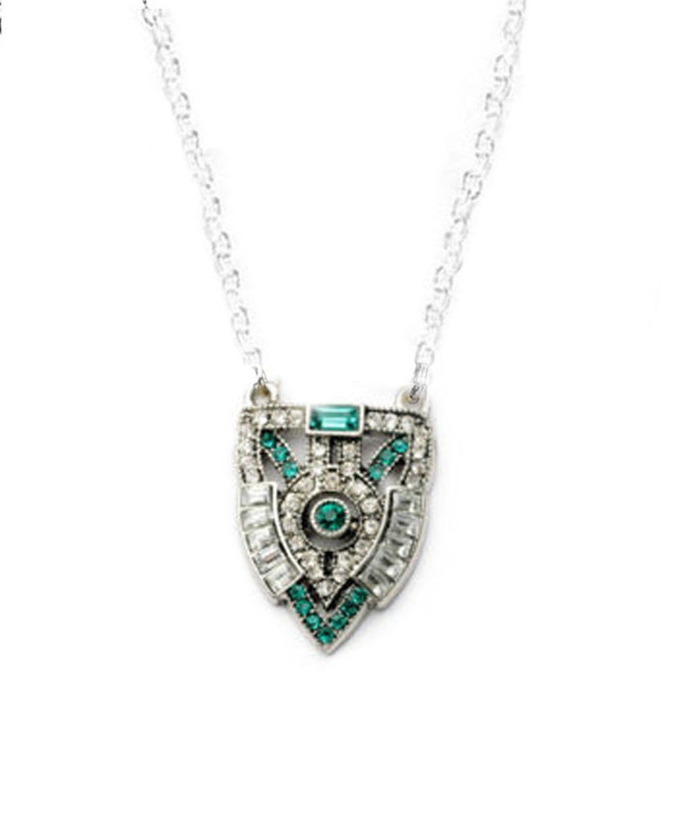 Antiqued Silver Art Deco Crystal Necklace - Jewelrylized.com