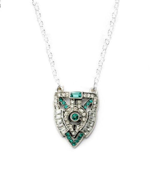 Antiqued Silver Art Deco Crystal Necklace