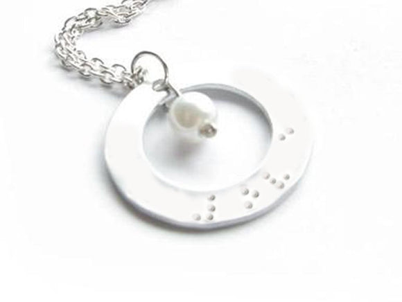 Braille in Love Washer Hand Stamped Necklace - Jewelrylized.com