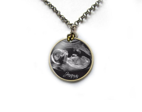 Bronze Sonogram Necklace, Pregnancy Gift, birth announcement, Gift for New Mother, Silver Ultrasound Necklace - Jewelrylized