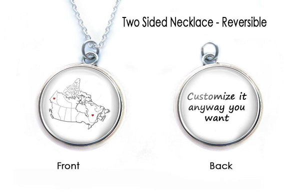 Canada Map Necklace, Double-Sided Long Distance Friendship Necklace - Jewelrylized