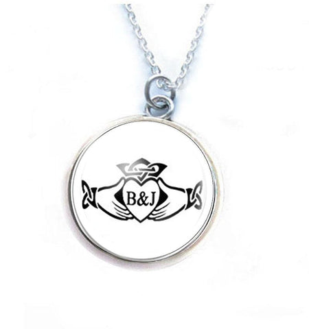 Claddagh Initials Necklace - Jewelrylized.com