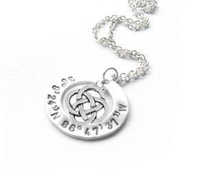 Silver Celtic Longitude Latitude Washer Necklace, Hand Stamped Personalized Jewelry - Jewelrylized.com