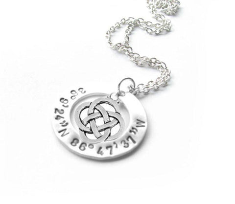 Silver Celtic Longitude Latitude Washer Necklace, Hand Stamped Personalized Jewelry, Jewelrylized