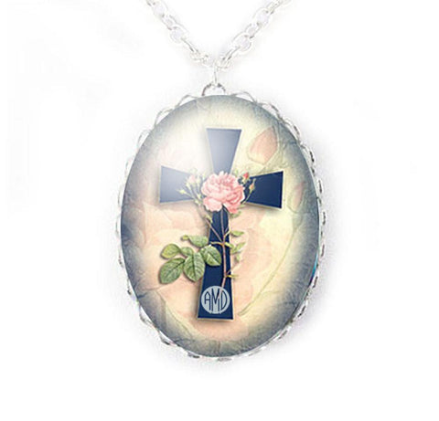 Rose Cross Monogram Necklace, Religious Christian Personalized Jewelry, Jewelrylized