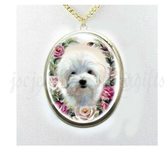 Maltese dog porcelain cameo Necklace