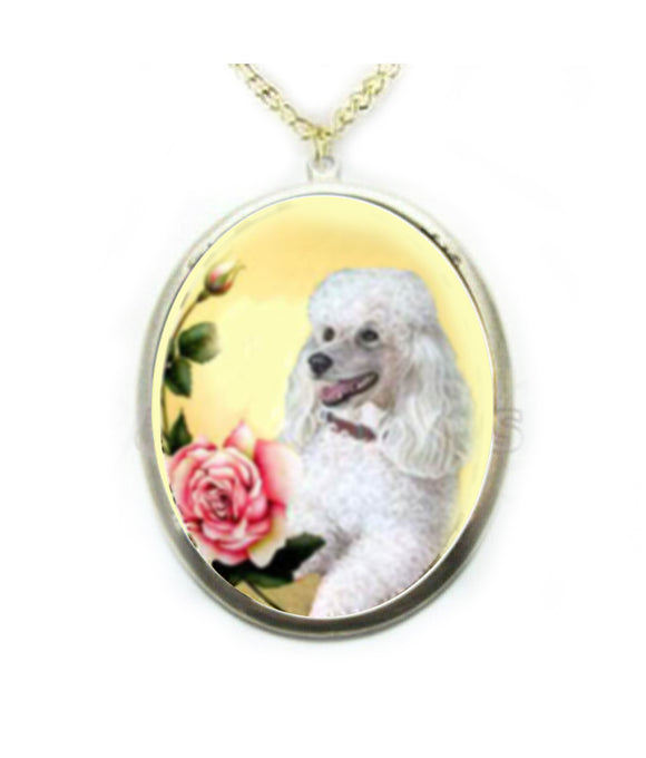 White Poodle dog porcelain cameo Necklace