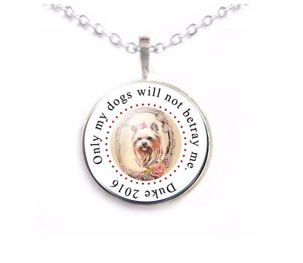 Yorkie Dog Necklace, Personalized dog photo Pendant - Jewelrylized  - 1