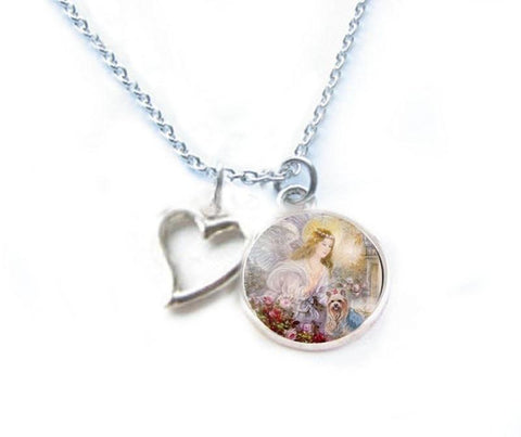 Angel and Yorkie Dog Necklace - Jewelrylized