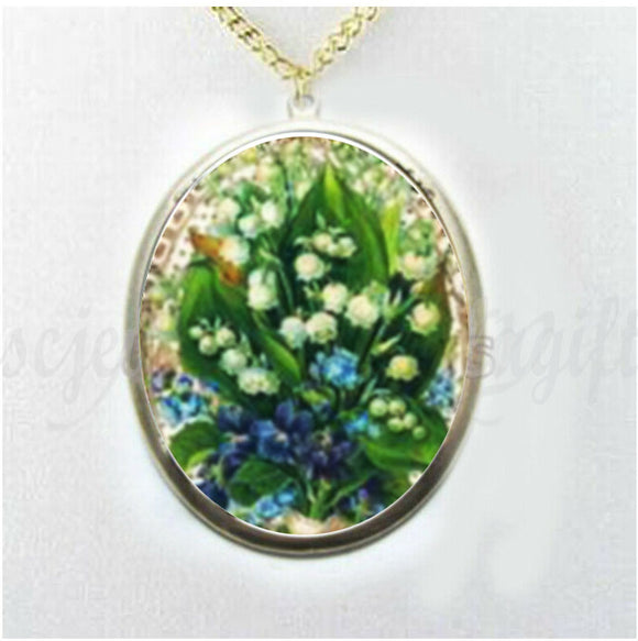 Lily of Valley Porcelain Cameo Necklace