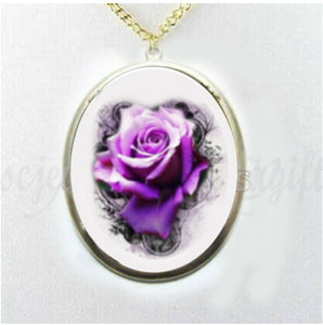 Purple Rose Porcelain Cameo Necklace