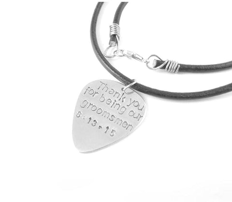 Leather Chain Guitar Pick Necklace, Personalized Hand Stamped Guitar Pick Necklace - Jewelrylized  - 1