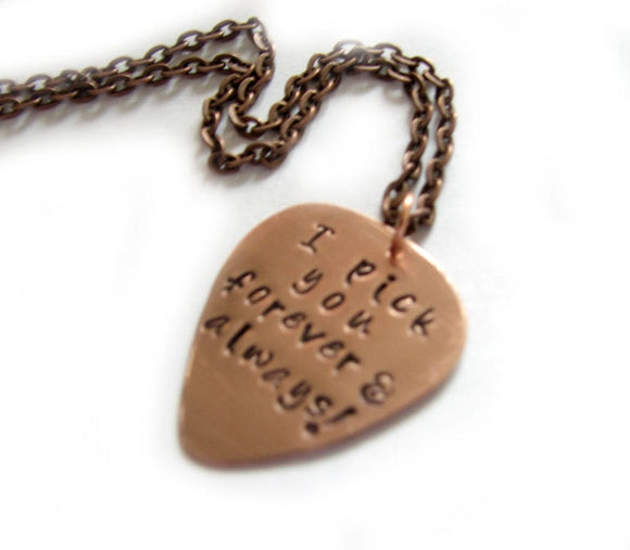 Copper I Pick You Custom Guitar Pick Necklace - Jewelrylized.com