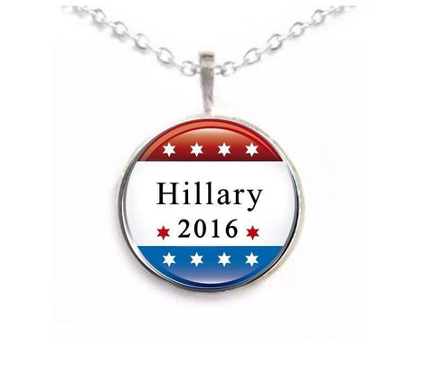 Silver Hillary Clinton Necklace, Jewelrylized