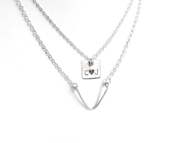 Square Chevron Hand Stamped Personalized Initials Layered Necklace - Jewelrylized.com