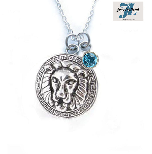 Greekey Lion Birthstone Necklace - Jewelrylized.com