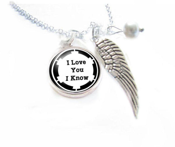 Silver I love you I know Angel Wing Necklace