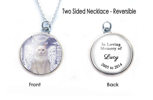 Cat Angel Memorial Necklace, 2 Sided Pendant - Jewelrylized