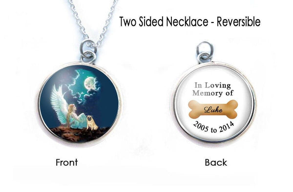 Memorial Angel Dog Necklace, 2 Sided Photo Pendant - Jewelrylized