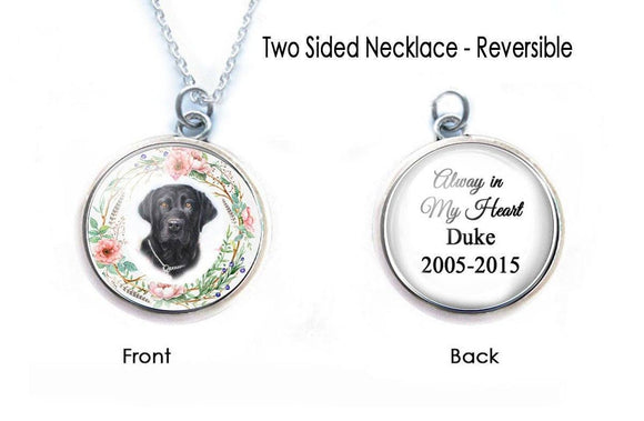 Pet Memorial Necklace, Cat or Dog Picture 2 Sided Pendant - Jewelrylized.com