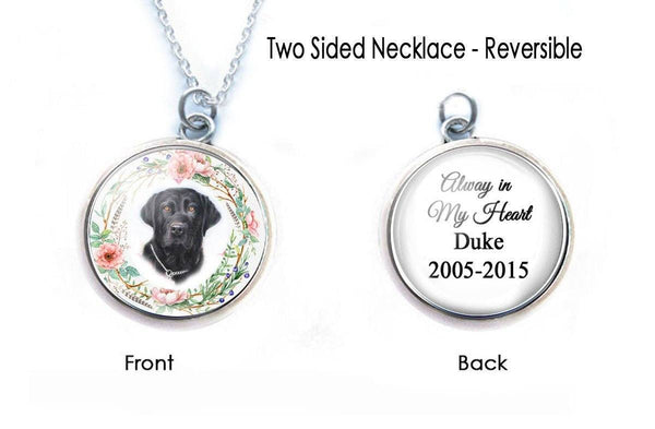 Pet Memorial Necklace, Cat or Dog Picture 2 Sided Pendant - Jewelrylized  - 1