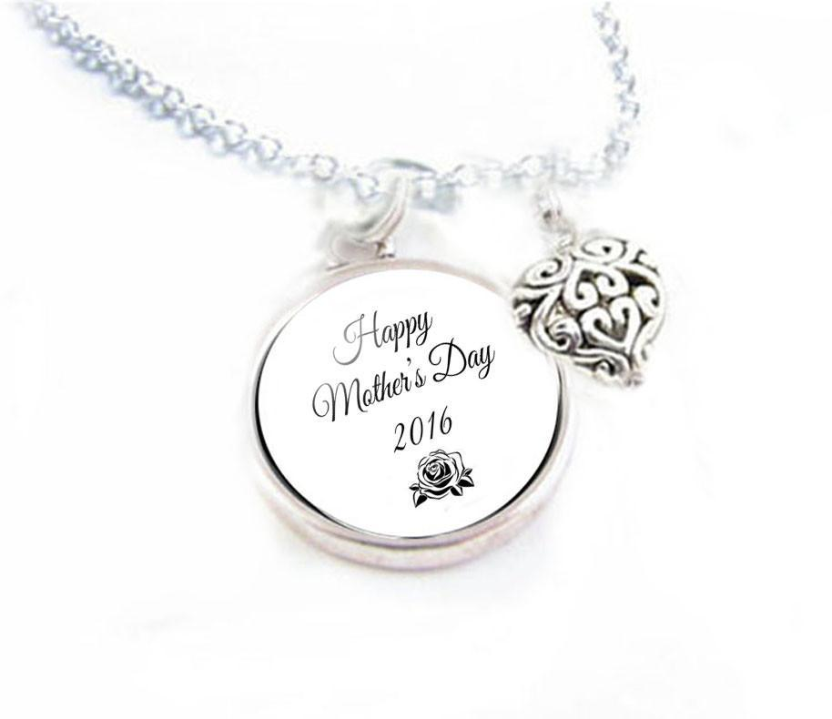 Mothers Day Heart Charm Necklace - Jewelrylized.com