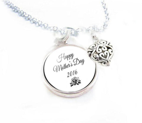 Mothers Day Heart Charm Necklace - Jewelrylized
