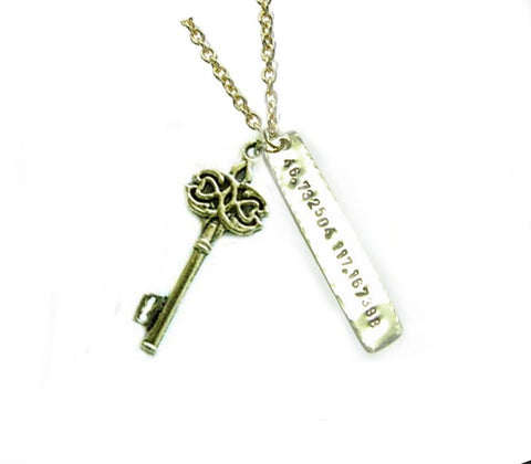 Key & Longitude Latitude Necklace, Hand Stamped Hammered Jewelry - Jewelrylized.com