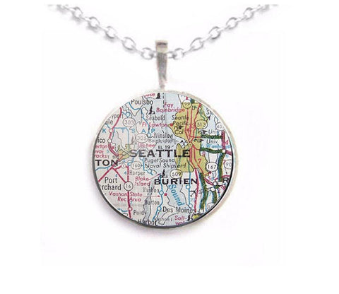 Silver Seattle Map Necklace, Jewelrylized