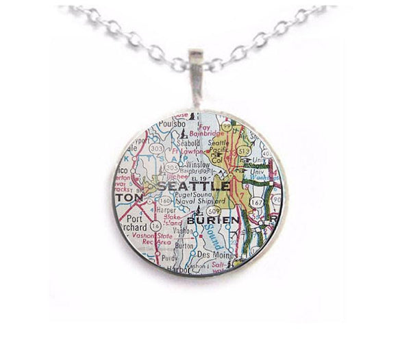Silver Seattle Map Necklace - Jewelrylized.com