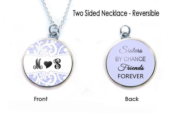 BFF Sister Friendship 2 Sided Necklace - Jewelrylized.com