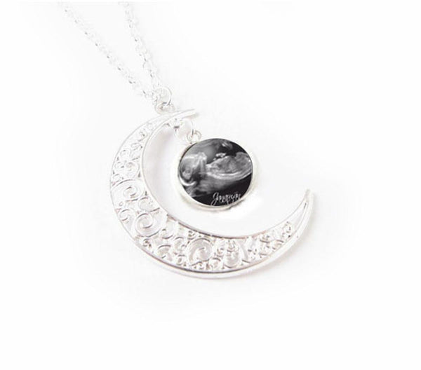New Baby Sonogram Silver Moon Necklace - Jewelrylized