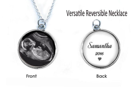 Sonogram Necklace, Reversible 2 Sided Baby Pendant, Pregnancy Gift, Jewelrylized