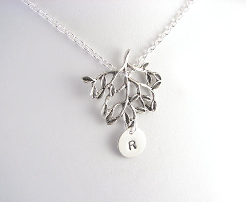 Tree Personalized initial Hand Stamped Necklace, Jewelrylized
