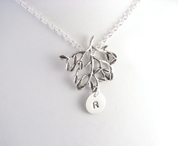 Tree Personalized initial Hand Stamped Necklace - Jewelrylized  - 1
