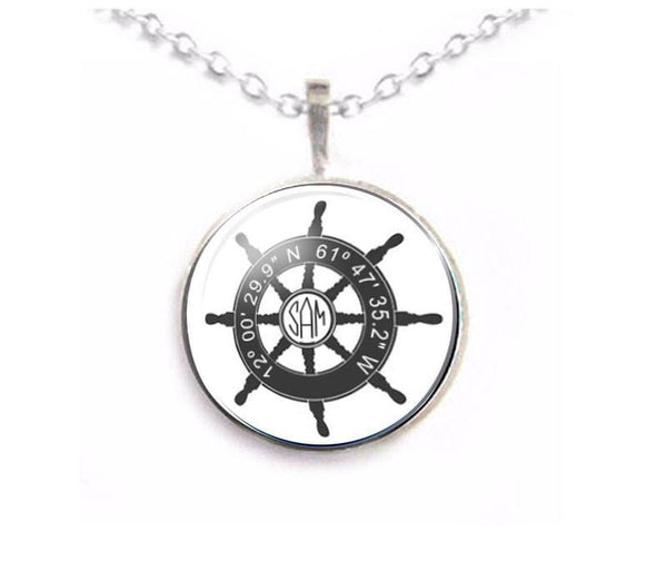 Latitude Longitude Ship Wheel Monogram Necklace - Jewelrylized