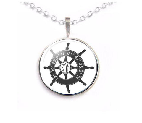 Latitude Longitude Ship Wheel Monogram Necklace - Jewelrylized.com