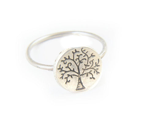 Tree Antiqued Silver Handmade Ring, Jewelrylized