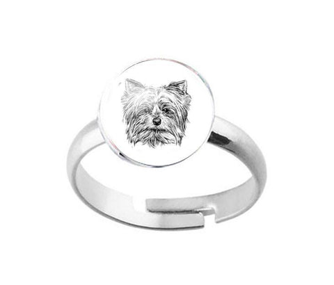 Silver Yorkie Dog Ring, Jewelrylized