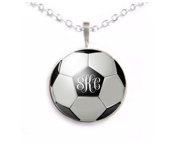 Silver Soccer Ball Monogram Necklace, Matching Earrings, Bracelet, Ring - Jewelrylized  - 1
