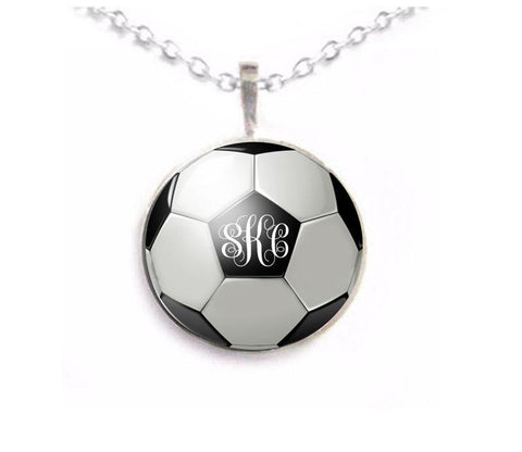 Silver Soccer Ball Monogram Necklace, Matching Earrings, Bracelet, Ring - Jewelrylized.com