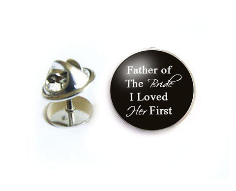 Father of the Bride Tie Tack, Wedding Tie Pin, Silver Lapel Pin - Jewelrylized  - 1
