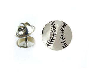 Baseball Tie Tack, Silver Tie Pin - Jewelrylized.com